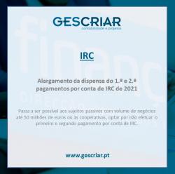 IRC alargamento da dispensa de pagamento